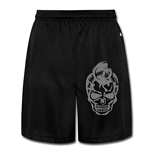 SDUNK Men's A Skull With A 50s Haircut Performance Shirt Take Part In Sports Training, Team Fly Short (50s Haircuts)
