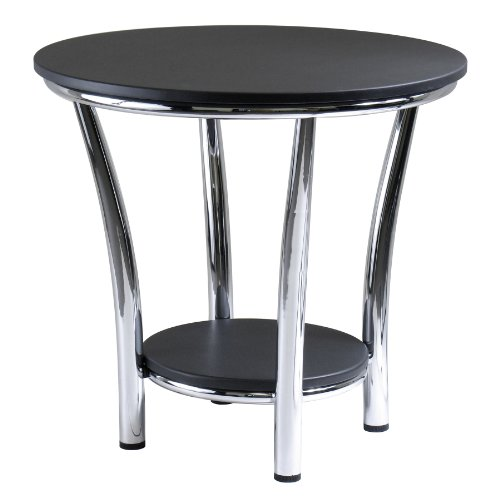 Winsome Wood Maya Round End Table, Black Top, Metal Legs (Black Small Coffee Table compare prices)