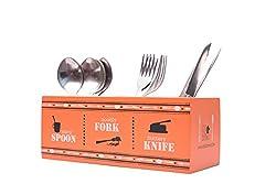 EK DO DHAI Wooden Cutlery Holder, Multicolour