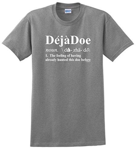 Deja Doe Definition, Funny Hunting T-Shirt Large Sport Grey
