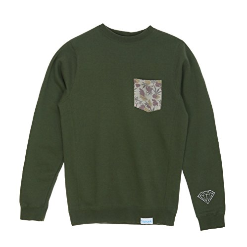 Diamond Supply Co. Men's Weed Camo Pocket Fleece Crewneck Sweatshirt-Army Green-L (Diamond Supply Co Crew Fleece compare prices)