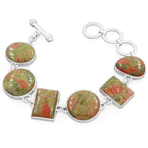 925 Sterling Silver Natural Unakite Gemstone Designer Fashionable Party Wear Bracelet 8