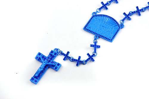 New! Iced Out Cross Linked Chain Rosary w/ The Last Supper & Paves Cross BLUE