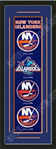 Heritage Banner Of New York Islanders With Team Color Double Matting-Framed Awesome... by Art and More, Davenport, IA
