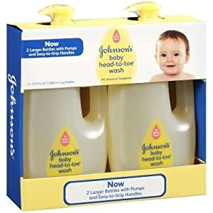 Johnsons Baby Head to Toe Wash 2 X 33.8 Oz Bottles ** Larger Easy Grip Pump Bottles.**