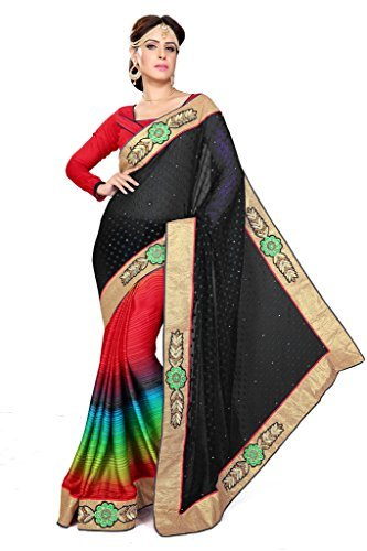 Sourbh Sarees Women's Jacquard And Satin Chiffon Black and Multicolor Half Half Saree with Unstitched Blouse Piece
