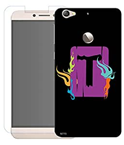 Combo of T Alphabet Square HD UV Printed Mobile Back Cover and Tempered Glass For Letv Le 1S