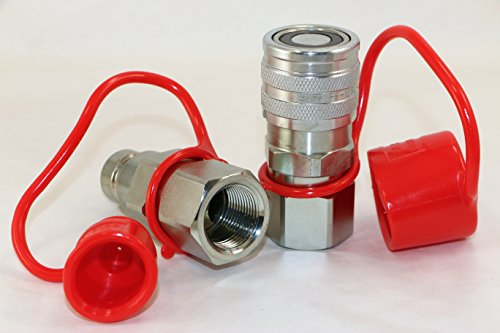 TL30 Flat Face Hydraulic Quick Connect Couplers High Flow 3/4 NPT Skid Steer Coupling Disconnect with Dust Caps
