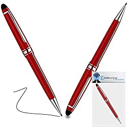 iTALKonline ZTE Geek Red PRO Captive Touch Tip Stylus Pen with Rubber Tip with Roller Ball Pen