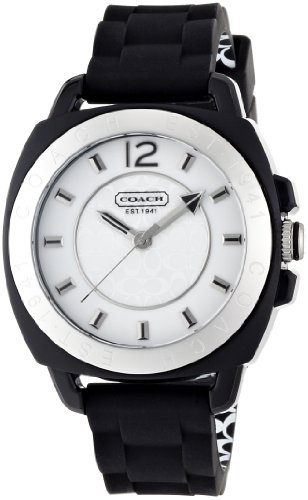 Coach Signature Boyfriend Silicon Rubber Black Watch Gift Box