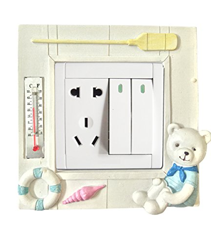 Creative Animal Decorative Light Switch Wall Plate Cover (With Thermometer) - Kids/baby Room Decor - Standard Size with Single/dual Toggle - White Cute Boating Bear Socket Wallplate Sticker (Resin) By Youqutime