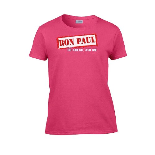 Iamtee Womens Ron Paul: Go Ahead, Ask Me T-Shirt-Pink-Xxl