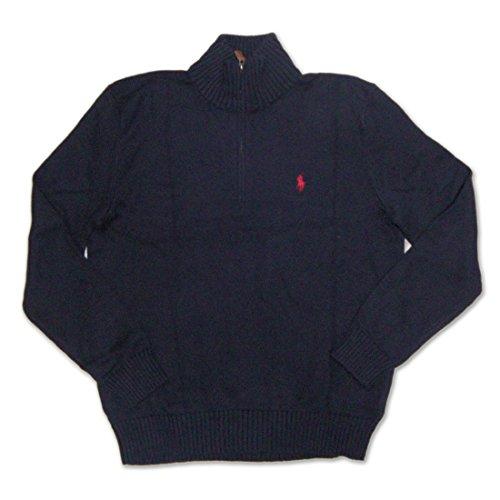 ポロラルフローレン POLO RALPH LAUREN Half-Zip Cotton Sweater ハーフジップ コットン ニット メンズ セーター 5Gヘビーウェイトコットン ネイビー×レッドロゴ Lサイズ 並行輸入品 VITA867-L 並行輸入品 VITA867-L