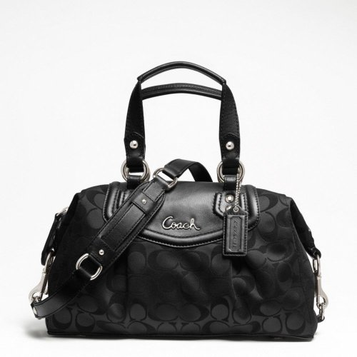 COACH ASHLEY SIGNATURE SATEEN SATCHEL BLACK F19242
