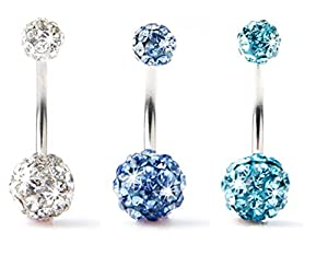 BODYA Lot of 3pc 14G Swarovski Crystal Double Gem jeweled Belly Button Ring Bling Body Jewelry Piercing Ring 3 Pack (Clear+Light Blue+Turquoise)