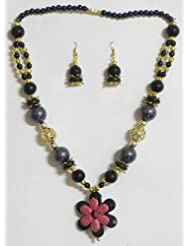Black And Golden Bead Tibetan Necklace With Flower Pendant - Acrylic Bead