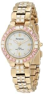 Armitron Women's 75/3689OMGP Opal and Rose Swarovski Crystal Accented Gold-Tone Bracelet Watch