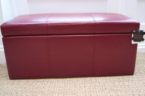 BRAND NEW 100% Real Leather RED Ottoman Toy box seat