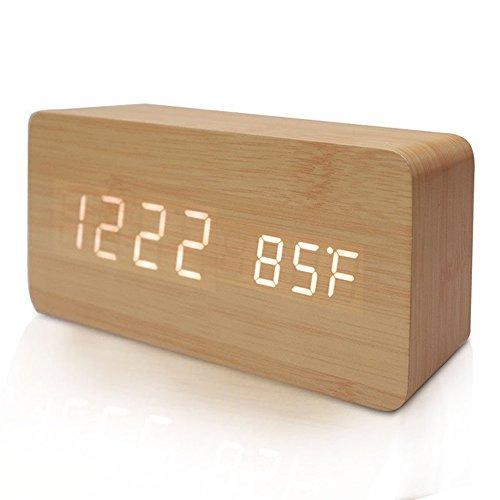 FiBiSonic デジタル LED 目覚し時計 置き時計 アラームクロック 多機能 音声感知 温度計 USB給電 木目調 おしゃれ インテリア プレゼント (茶色・白字)