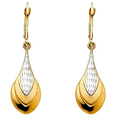 Wellingsale® Ladies 14k Two Tone Yellow and White Gold Polished Teardrop Dangle Hanging Drop Earrings (42 x 12 mm)