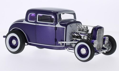 Ford 5 Window Coupe, metallic-lilac/white, 1932, Model Car, Ready-made, GMP / ACME 1:18 (1932 Ford 5 Window Coupe compare prices)