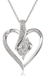 Sterling Silver Diamond Heart Pendant Necklace (1/4 cttw, I-J Color, I2-I3 Clarity), 18