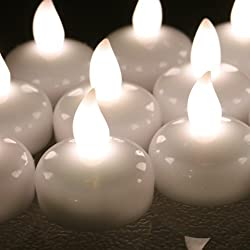 AGPtek Battery Operated Flameless Waterproof Floating LED Tealight Candle (12 Pcs) for Wedding Reception Christmas Thanksgiving Birthday Party Lights Hotels Restaurants Lounge Bars & Other Special Occasions - Warm White