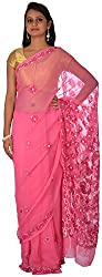 knool Women's Georgette Saree With Unstitched Blouse Piece (Dark Pink) (CGSH01DPNK)