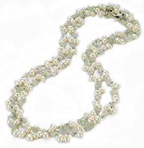 Lustrous-Ivory Pearls & Green Jade Long/Regular Necklace with Silver Beads