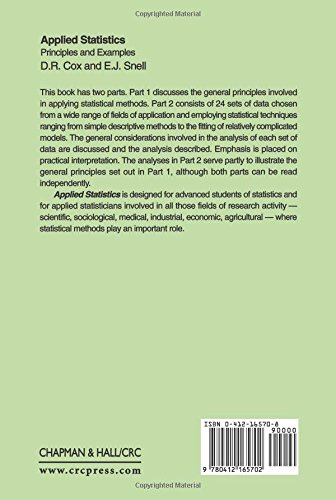 Applied Statistics - Principles and Examples (Chapman & Hall/CRC Texts in Statistical Science)