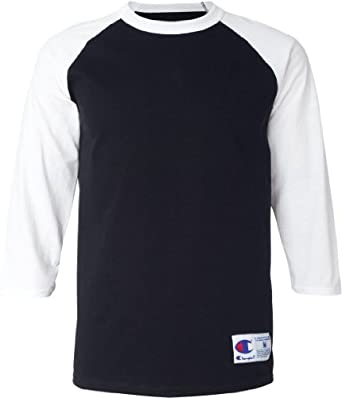 Champion Men's Raglan Baseball T-Shirt (Black/White) (Small)