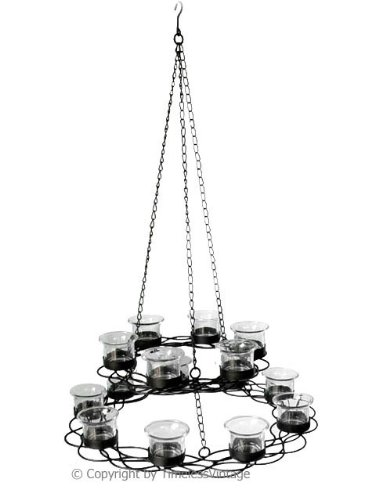Chic Hanging Glass Votive Holder Iron Candle Chandelier Tier Candleholder