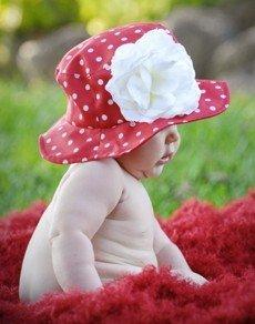 jamie rae hats ジェイミーレイハット サンハット 《生地:レッドドット》 《お花:ホワイトローズ》