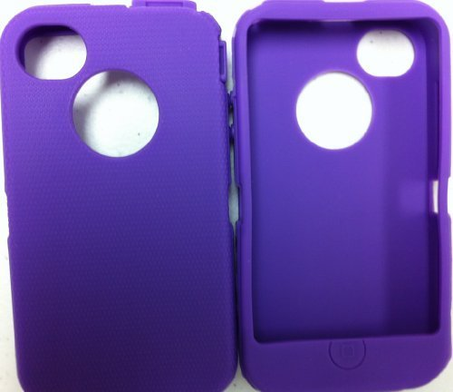 Replacement Silicone Skin For Iphone 4/4S Otterbox Defender Case With Oval Cutout By Sportygigabite - Purple front-351877