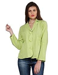 Oxolloxo Women Green Linen Blazer
