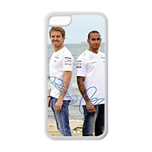 Nico Rosberg Charming Lewis Hamilton signed HD Image Personalized Apple iPhone 5C TPU case cover