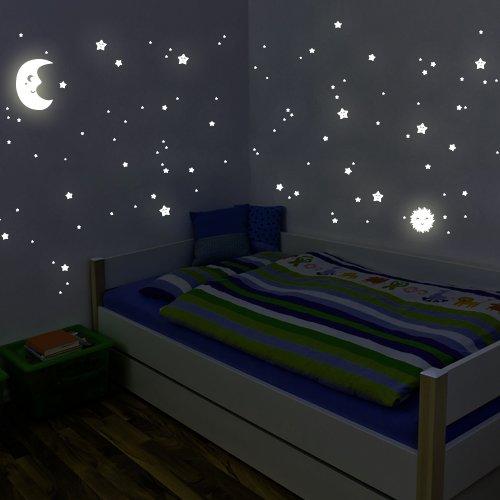"""Adesivi fluorescenti Wandkings """"kit XL sole, luna stelle"""" 114 adesivi su 2 fogli formato A4 DIN, fluorescenti e brillanti al buio"""