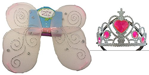 Fairy Wings Tiara Set Girls Kids Tinkerbell Halloween Costume Princess Angel Bundle
