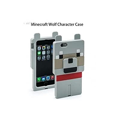 Minecraft Character iphone Case 5 and 5S Compatible Creeper Pig and Wolf 3D Silicone Games Toys