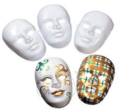 Design Your Own White Face Masks (12 ct)Craft Project/BIRTHDAY/Scouts/Mardi Gras