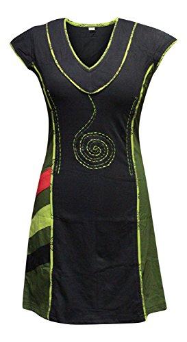 Shopoholic Moda Da Donna Elegant scollo a V Verde Nera Spiral Ricamo Abito - cotone, VERDE MIX, 100% coste 100% cotone, Donna, 3XL