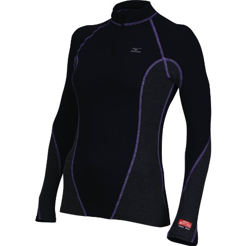 Mizuno Women's Breath Thermo Stretch 1/2 Zip Long Sleeve Running Shirt, Black-Pansy, Small