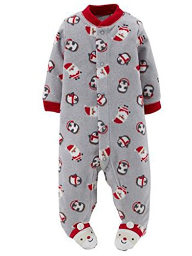 Carters Infant Boys Plush Gray Christmas Sleeper Santa Claus Sleep & Play Pajama