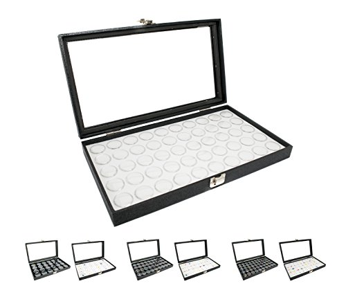 Novel Box® Large Glass Top Black Leatherette Jewelry Display Case + 50 Small Jar Insert Tray in White + Custom NB Pouch