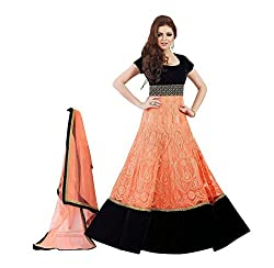 The Desi Attire Orange Color Soft Net Anarkali Salwar Suit for Women Party Wear ( dress materials for women _ Printed)