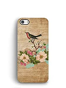 Cover Affair Wood / Flower Printed Back Cover Case for Apple iPhone 5