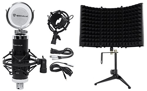 Package: Rockville RCM03 Pro Studio Recording Condenser Microphone Mic With High Quality Metal Construction and Shock Mount + Rockville RMF1 Studio Microphone Isolation Shield w/ Sound Dampening Foam (Studio Mics Package compare prices)