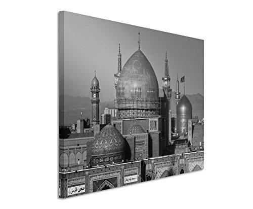 50x70cm Leinwandbild schwarz weiß in Topqualität Imam-Reza-Schrein Iran