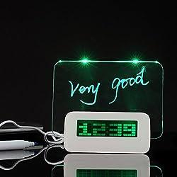 GTT LCD Backlight USB Digital Alarm Clock with Memo Message Board and Highlighter-green