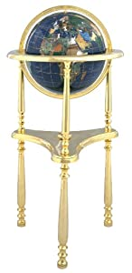 "Collector's Edition 37"" Tall blue lapis Ocean Compass Tripod 3 Heavy gold leg Floor Stand Gem Gemstone World Map Globe Globes Maps"